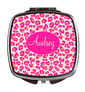 Compact Mirror- Hot Pink Leopard