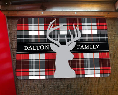 Doormat - Red Plaid Deer