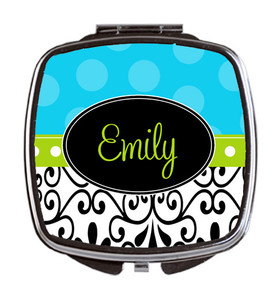 Compact Mirror- Island Blue Damask