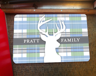Doormat - Light Blue Plaid Deer