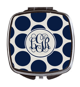 Compact Mirror- Navy Dots