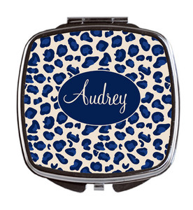 Compact Mirror- Navy Leopard