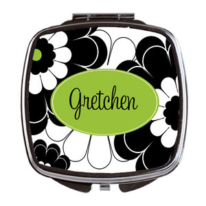 Compact Mirror- Black Lime Floral