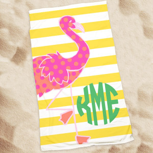 Beach Towel-Flossie the Flamingo