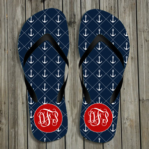 Flip Flops-Navy Anchors