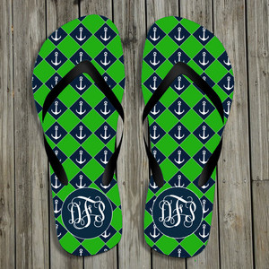 Flip Flops-Green Anchors