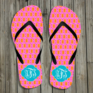 Flip Flops-Orange Pink Links