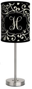 Custom Lamp-Black and Khaki Damask