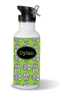 Waterbottle- Lime Skulls (DESIGN YOUR OWN)