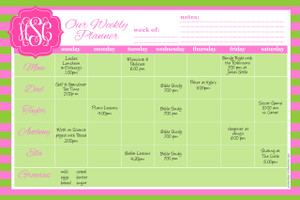 Weekly Jumbo Planner Pad-Pink and Green Rugby Stripe
