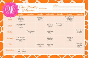 Weekly Jumbo Planner Pad-Orange Giraffe