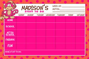 Jumbo Desk Planners - Hot Pink Monkey