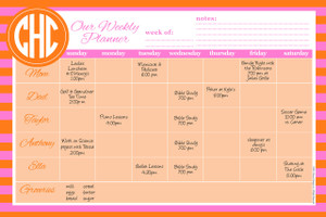 Jumbo Desk Planners -Orange and Pink Rugby Stripes