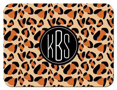 Cutting Board - Leopard Circle Monogram
