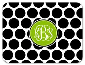 Cutting Board - BW Polka Dots Circle Monogram