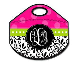 Lunch Tote- Damask Hot Pink Dot