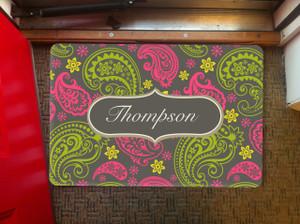 Doormat- Gray Pink Paisley