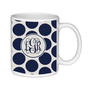 Coffee Mug-Navy and Khaki Dots
