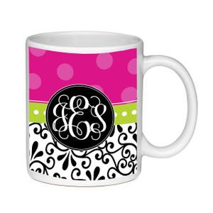 Coffee Mug-Damask and Hot Pink Dots