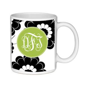 Coffee Mug-Black and Lime Floral