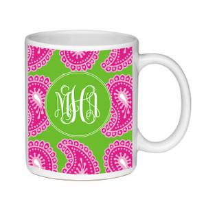 Coffee Mug-Pink and Green Paisley