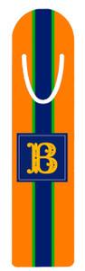 Metal Bookmark- Orange Rugby Stripe