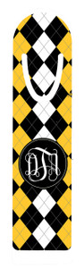 Metal Bookmark- Black and Gold Argyle