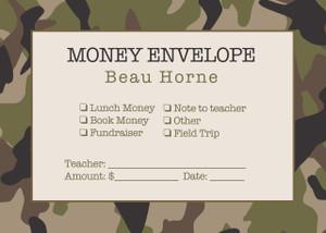Money Envelopes - Camo Fishing
