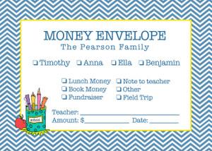 Money Envelopes - Chevron Blue