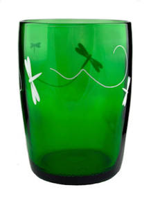 Decorated Forest Tumblers Made From Perrier Water Bottles  - set of 4