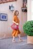 KRYSTA Kaftan Maxi Silk Dress Cover Up in Burnt Sienna (Sm/ Med)
