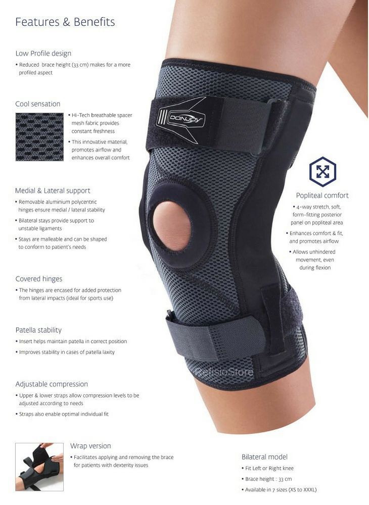 c90bb37a9a Details about NEW Donjoy Playmaker XPert Hinged Knee Brace -Patella  Stabilizing Meniscus Tear