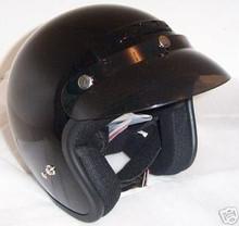 Motorcycle Helmets  Zeus 380 Black Open Face New