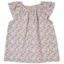 Liberty Floral Flutter Sleeve Top - Pink/Grey