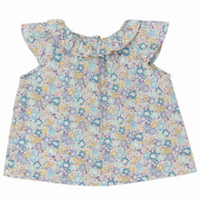 Mini Liberty Floral Ruffle Neck Blouse - Mint/Lavender