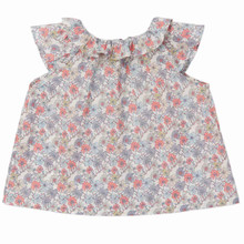 Mini Liberty Floral Ruffle Neck Blouse - Pink/Grey