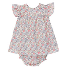 Liberty Floral Flutter Sleeve Dress with bloomers - Pink/Grey