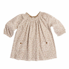 DAISY PRINT BABY RAGLAN SLEEVE DRESS - CHOCOLATE