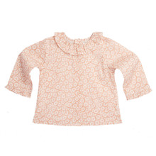 DAISY PRINT LONG SLEEVE RUFFLE COLLAR BABY BLOUSE - PINK