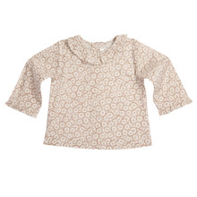 DAISY PRINT LONG SLEEVE RUFFLE COLLAR BABY BLOUSE - CHOCOLATE
