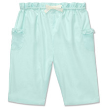 COTTON PULL ON TROUSER - PALE AQUA