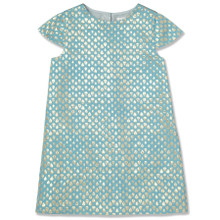 METALLIC JACQUARD SHIFT DRESS - AQUA