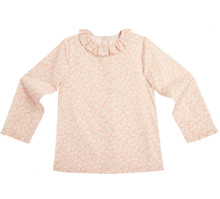 DAISY PRINT LONG SLEEVE RUFFLE COLLAR BLOUSE - PINK