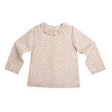 DAISY PRINT LONG SLEEVE RUFFLE COLLAR BLOUSE - CHOCOLATE