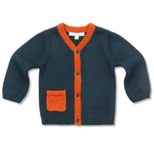 STAR AND CROWN INTARSIA CARDIGAN - TEAL