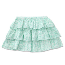TIERED SKIRT - AQUA DAISY PRINT