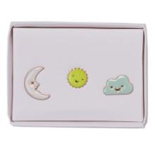 Set of Three Pins - Sun and Moon