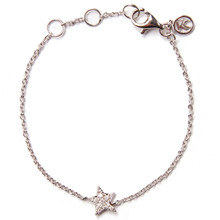Mini Diamond Star Bracelet - White Gold