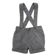 Wool-Cashmere Suspender Shorts - Grey