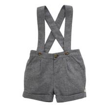 Wool-Cashmere Suspender Shorts - Grey